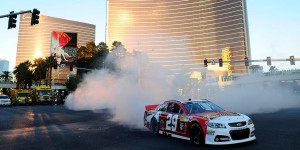 Harvick burning rubber in Vegas