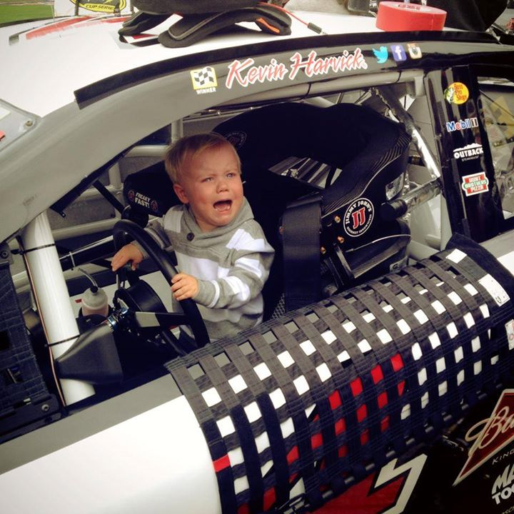 Keelan does NOT want to get out of the car at Texas!